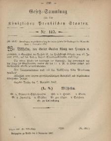 Gesetz-Sammlung für die Königlichen Preussischen Staaten, 9. November, 1867, nr.115.