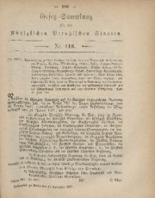 Gesetz-Sammlung für die Königlichen Preussischen Staaten, 15. November, 1867, nr.116.