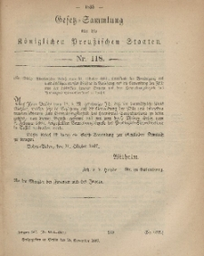 Gesetz-Sammlung für die Königlichen Preussischen Staaten, 25. November, 1867, nr.118.