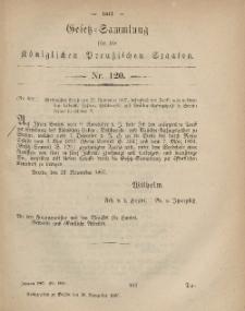 Gesetz-Sammlung für die Königlichen Preussischen Staaten, 30. November, 1867, nr.120.