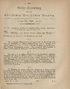 Gesetz-Sammlung für die Königlichen Preussischen Staaten, 2. Dezember, 1867, nr.121.