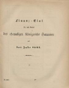 Gesetz-Sammlung für die Königlichen Preussischen Staaten (Finanz-Etat für das Gebiet des chemaligen Königreichs Hannover auf das Jahr 1867)