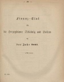 Gesetz-Sammlung für die Königlichen Preussischen Staaten (Finanz-Etat für die Herzogthumer Schleswig und Holstein auf das Jahr 1867)