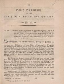 Gesetz-Sammlung für die Königlichen Preussischen Staaten, 18. April, 1861, nr. 13.