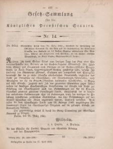 Gesetz-Sammlung für die Königlichen Preussischen Staaten, 27. April, 1861, nr. 14.