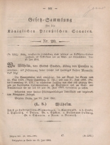 Gesetz-Sammlung für die Königlichen Preussischen Staaten, 15. Juni, 1861, nr. 20.