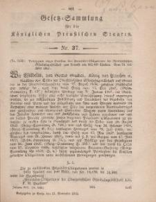 Gesetz-Sammlung für die Königlichen Preussischen Staaten, 13. November, 1861, nr. 37.