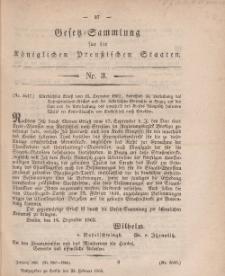 Gesetz-Sammlung für die Königlichen Preussischen Staaten, 23. Februar, 1863, nr. 3.