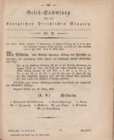 Gesetz-Sammlung für die Königlichen Preussischen Staaten, 10. April, 1863, nr. 9.