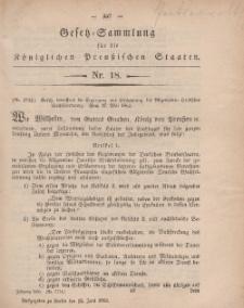 Gesetz-Sammlung für die Königlichen Preussischen Staaten, 12. Juni, 1863, nr. 18.