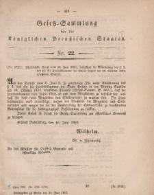 Gesetz-Sammlung für die Königlichen Preussischen Staaten, 30. Juni, 1863, nr. 22.