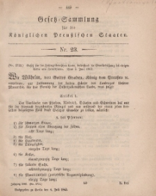 Gesetz-Sammlung für die Königlichen Preussischen Staaten, 6. Juli, 1863, nr. 23.