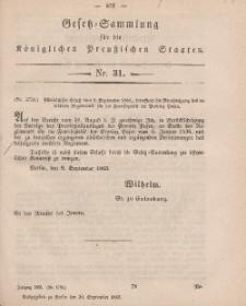 Gesetz-Sammlung für die Königlichen Preussischen Staaten, 30. September, 1863, nr. 31.