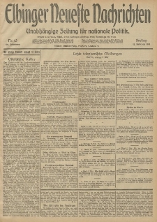 Elbinger Neueste Nachrichten, Nr. 43 Freitag 13 Februar 1914 66. Jahrgang