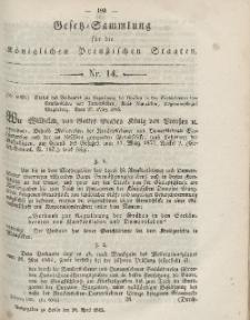 Gesetz-Sammlung für die Königlichen Preussischen Staaten, 28. April, 1865, nr. 14.