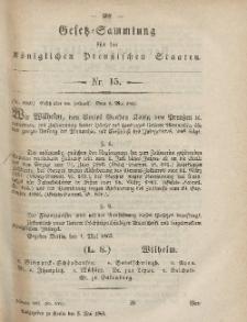 Gesetz-Sammlung für die Königlichen Preussischen Staaten, 5. Mai, 1865, nr. 15.