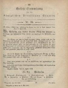 Gesetz-Sammlung für die Königlichen Preussischen Staaten, 5. Mai, 1865, nr. 16.