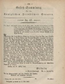 Gesetz-Sammlung für die Königlichen Preussischen Staaten, 11. Mai, 1865, nr. 17.