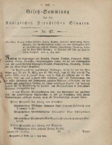 Gesetz-Sammlung für die Königlichen Preussischen Staaten, 7. Juli, 1865, nr. 27.