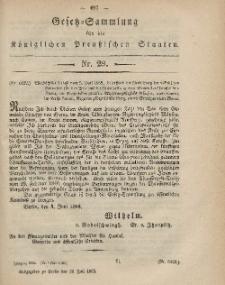 Gesetz-Sammlung für die Königlichen Preussischen Staaten, 12. Juli, 1865, nr. 29.