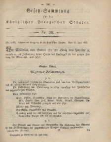 Gesetz-Sammlung für die Königlichen Preussischen Staaten, 19. Juli, 1865, nr. 30.