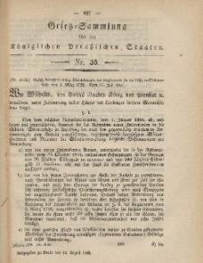 Gesetz-Sammlung für die Königlichen Preussischen Staaten, 12. August, 1865, nr. 35.