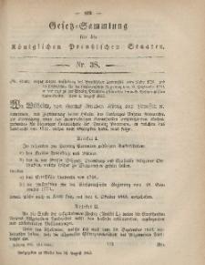 Gesetz-Sammlung für die Königlichen Preussischen Staaten, 25. August, 1865, nr. 38.