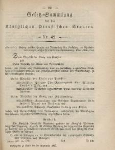 Gesetz-Sammlung für die Königlichen Preussischen Staaten, 29. September, 1865, nr. 42.