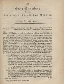 Gesetz-Sammlung für die Königlichen Preussischen Staaten, 6. Oktober, 1865, nr. 45.