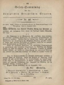 Gesetz-Sammlung für die Königlichen Preussischen Staaten, 9. Oktober, 1865, nr. 46.