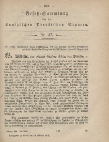 Gesetz-Sammlung für die Königlichen Preussischen Staaten, 12. Oktober, 1865, nr. 47.