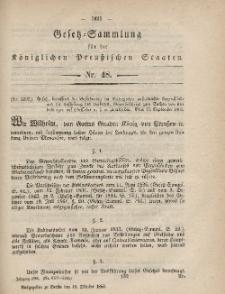 Gesetz-Sammlung für die Königlichen Preussischen Staaten, 16. Oktober, 1865, nr. 48.