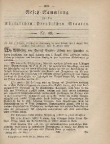 Gesetz-Sammlung für die Königlichen Preussischen Staaten, 31. Oktober, 1865, nr. 49.