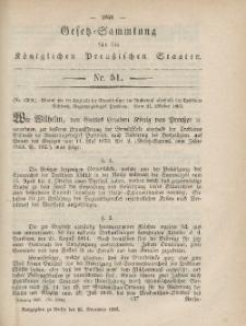 Gesetz-Sammlung für die Königlichen Preussischen Staaten, 16. November, 1865, nr. 51.