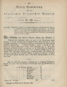 Gesetz-Sammlung für die Königlichen Preussischen Staaten, 18. November, 1865, nr. 52.