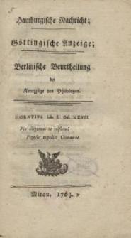 Hamburgische Nachricht; Göttingische Anzeige; Berlinische Beurtheilung der Kreuzzüge des Philologen
