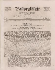 Pastoralblatt für die Diözese Ermland, 3.Jahrgang, 16. März 1871, Nr 6.