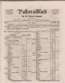 Pastoralblatt für die Diözese Ermland, 3.Jahrgang, 16. April 1871, Nr 8.