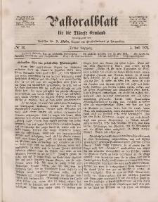 Pastoralblatt für die Diözese Ermland, 3.Jahrgang, 1. Juli 1871, Nr 13.