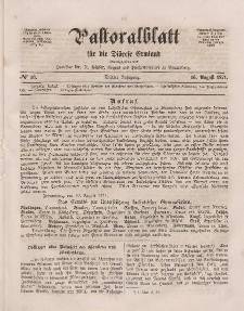 Pastoralblatt für die Diözese Ermland, 3.Jahrgang, 16. August 1871, Nr 16.