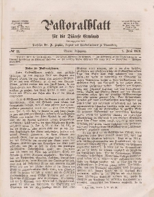 Pastoralblatt für die Diözese Ermland, 4.Jahrgang, 1. Juni 1872, Nr 11.