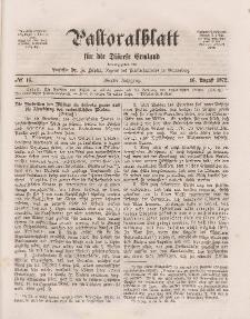 Pastoralblatt für die Diözese Ermland, 4.Jahrgang, 16. August 1872, Nr 16.