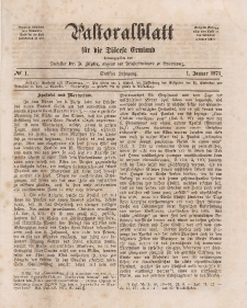 Pastoralblatt für die Diözese Ermland, 6.Jahrgang, 1. Januar 1874, Nr 1.