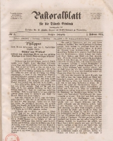 Pastoralblatt für die Diözese Ermland, 6.Jahrgang, 1. Februar 1874, Nr 3.