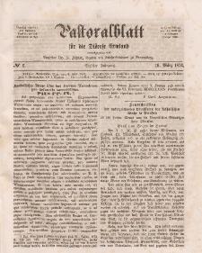 Pastoralblatt für die Diözese Ermland, 6.Jahrgang, 16. März 1874, Nr 6.