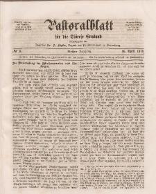 Pastoralblatt für die Diözese Ermland, 6.Jahrgang, 16. April 1874, Nr 8.