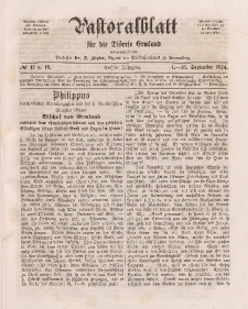 Pastoralblatt für die Diözese Ermland, 6.Jahrgang, 1-16. September 1874, Nr 17 u.18