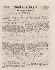 Pastoralblatt für die Diözese Ermland, 7.Jahrgang, April 1875, Nr 4.