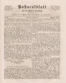 Pastoralblatt für die Diözese Ermland, 7.Jahrgang, August 1875, Nr 8.