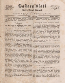 Pastoralblatt für die Diözese Ermland, 8.Jahrgang, Januar 1876, Nr 1.
